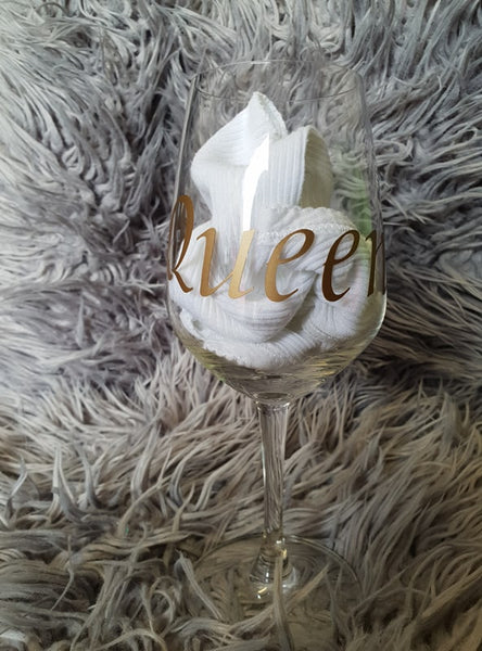 Wine Glass with Phrase