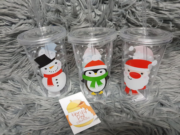 Personalised Christmas Cup with straw