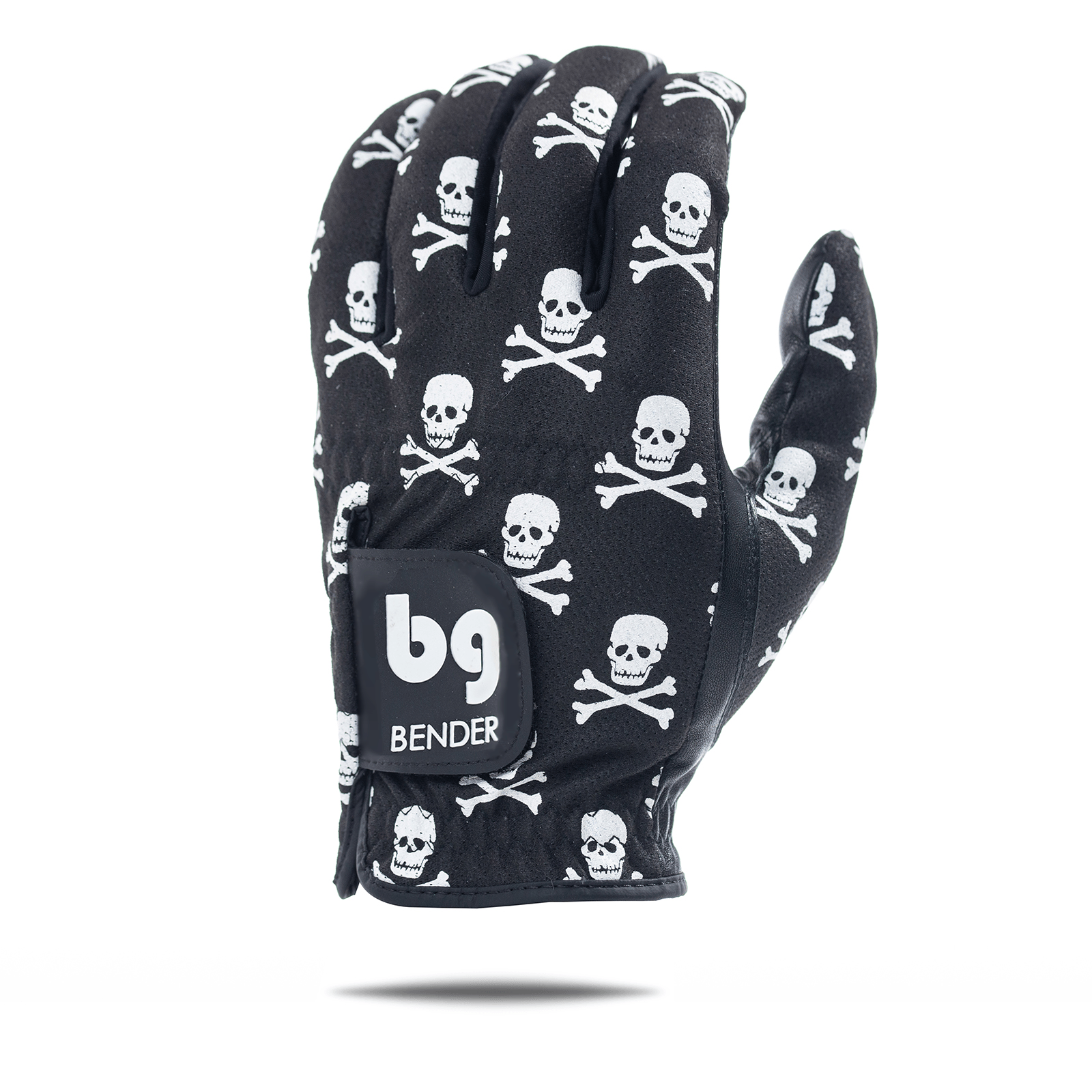 Black Skull and Crossbones Mesh Golf Glove
