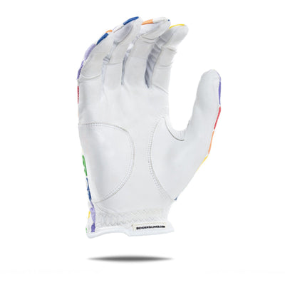 inside of white Bender Glove with colorful square pattern