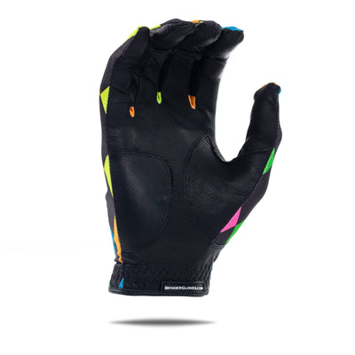 Inside of black Bender Glove with  colorful big square-pattern