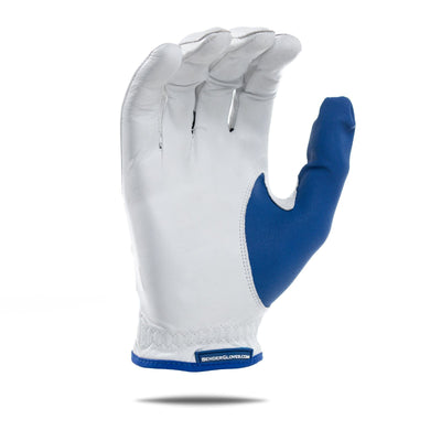 Inside of blue accent Bender Glove. White glove with blue thumb