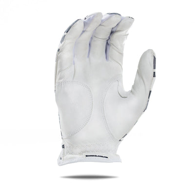 Inside of white Camo Bender Glove. White design with pixel color squares