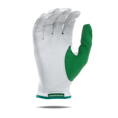 Inside of green accent Bender Glove. White glove with green thumb