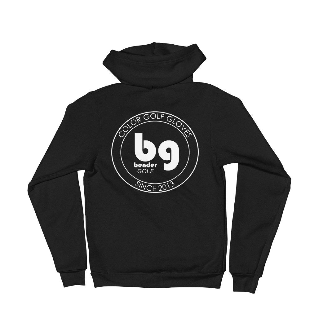 black hoodie with Bender Glove circle symbol on the back