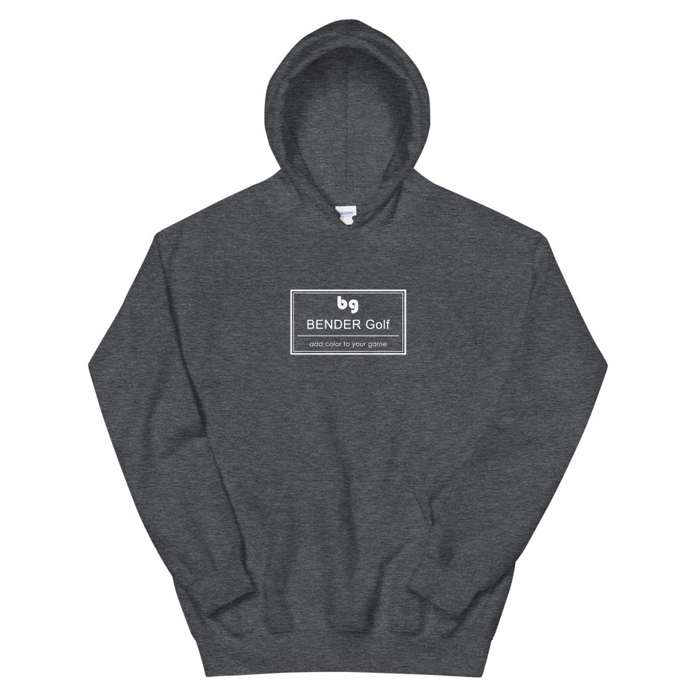 dark gray hoodie with Bender Glove rectangle symbol in the middle