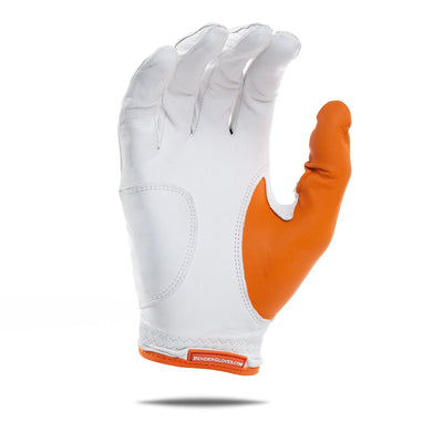 Inside of orange accent Bender Glove. White glove with orange thumb