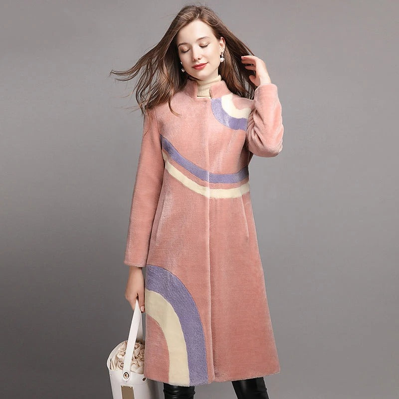 COLOR CONTRAST THICK WARM WINTER REAL WOOL COAT