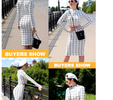 Black and White Plaid Long Sleeve Crop Top And Pencil Skirt Plaid Two Piece Spring Women OL Work Two Piece Set