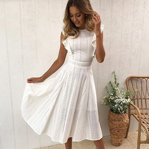 Aprons Elegant Ruffle White Lace Hollow Out Dress Women Summer Sleeveless Party Dresses Knee-Length Blue Sundresses Vestido