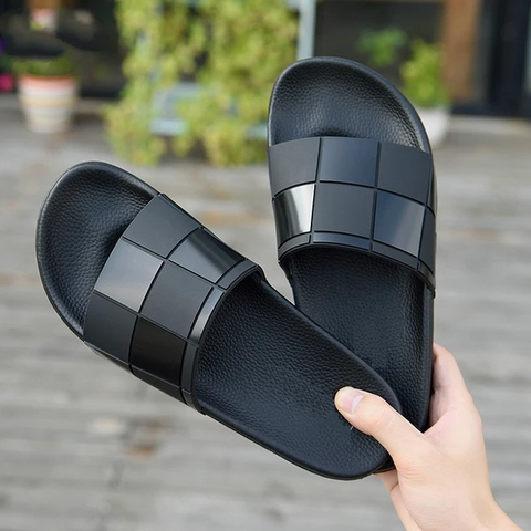 Summer Slippers Men Fashion Mosaic Personality Slippers Comfortable Outdoor Sandals Men Solid Couple Shoes Soft Soles Cool