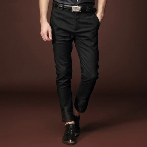 Free shipping designer men's male New  summer thin Slim black cropped pants trousers personality