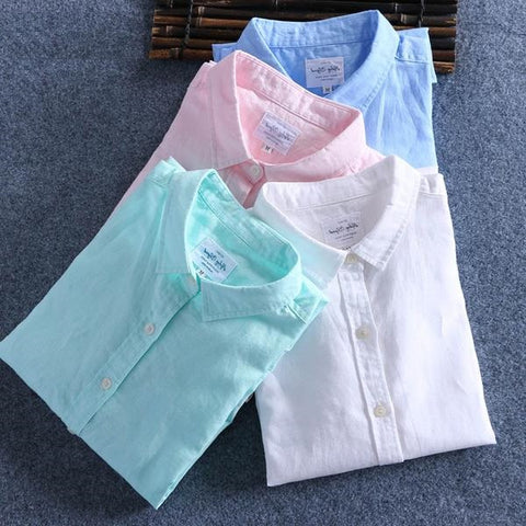 New Arrival Men Spring Summer Cotton Linen Shirt Slim Square Collar Comfortable Undershirt Male Plus Size