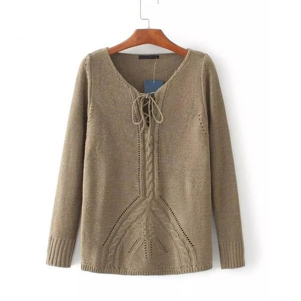 Lace up knitted pullover sweater Hollow out elastic knitting pullover Loose autumn winter jumper pullover