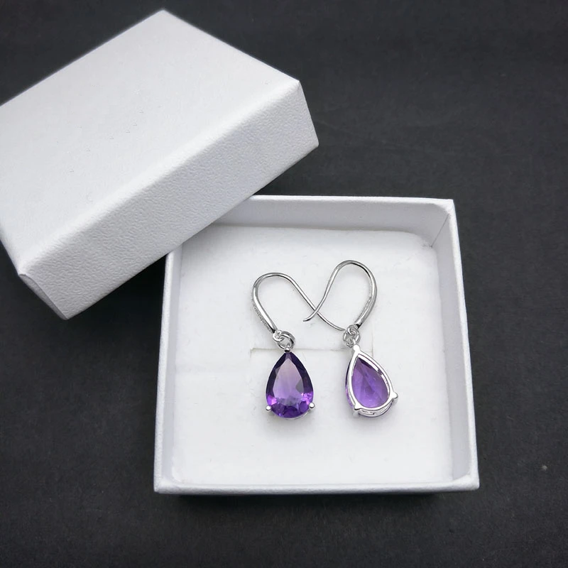Water Drop 6ct Genuine african amethyst gemstone Dangle hook Earrings Pure 925 Sterling Silver Fine Jewelry For Women