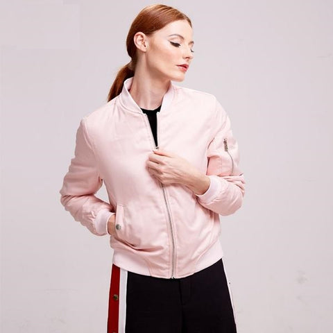 Autumn winter zipper padded women bomber jacket black blue pink gray army green Women casual outwears