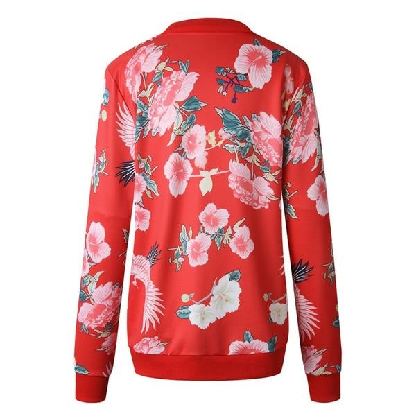 Floral Print Zipper Casual Jacket Women Spring Summer Long Sleeve Loose Bomber Jacket Coat O Neck Fashion Tops Outerwear