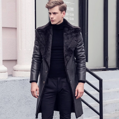 Free Shipping fanzhuan New fashion male Men's slim warm coat winter Fur thickening leather velvet Hair collar