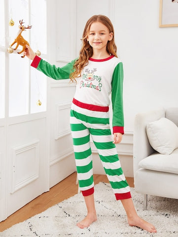 Christmas Kids Deer Print Striped Pajama Set