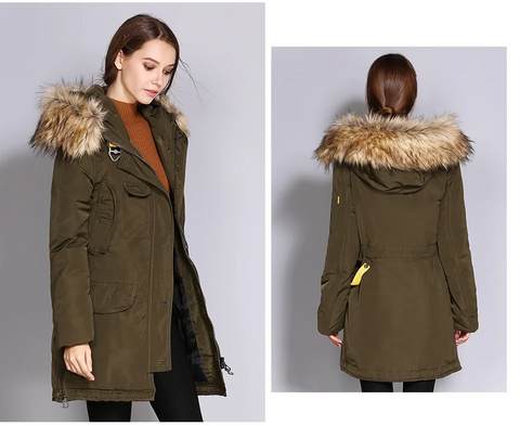 Women Thick Winter Jacket Big Faux Fur Hooded Warm Female Parka Coats Windbreaker Polyester Overcoat Long Women's Parkas