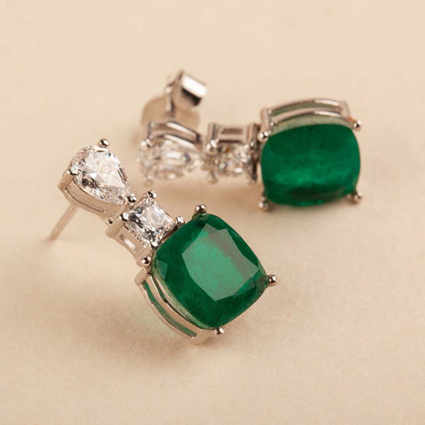 Green & White Swarovski Zirconia Earrings 92.5 Silver