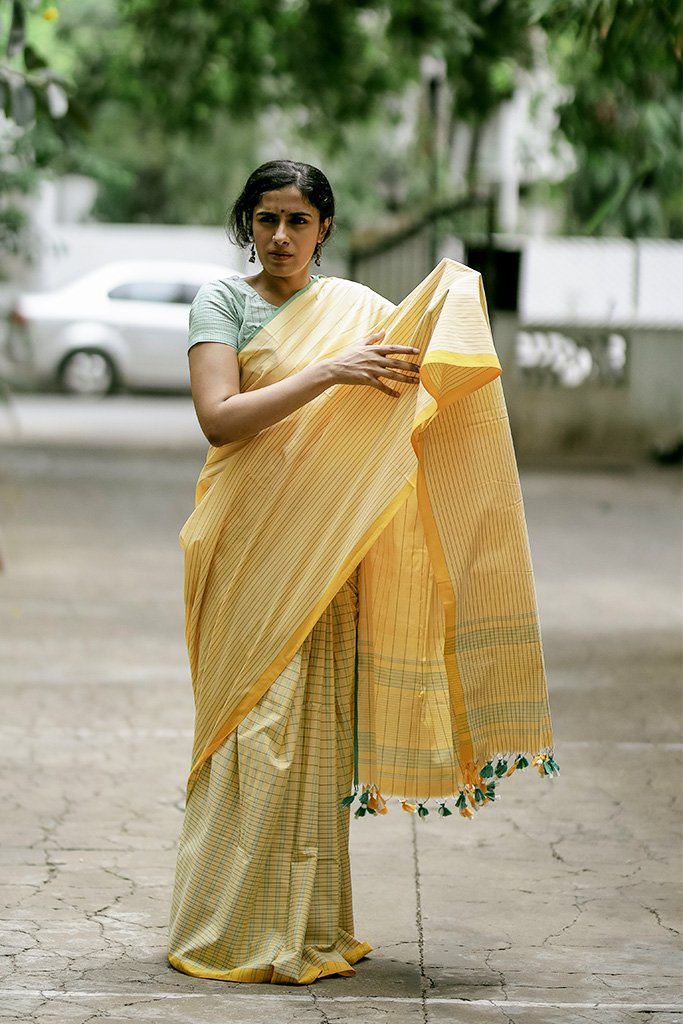 Green and Yellow Saree (Cotton)