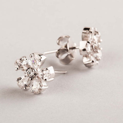 Flora Swarovski Zirconia Stud Earrings 92.5 Silver