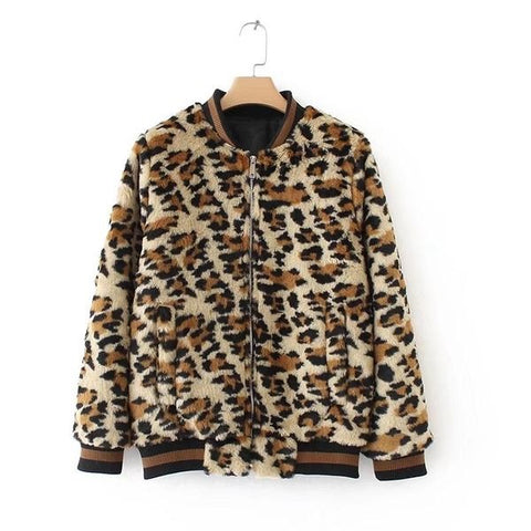 Autumn faux fur leopard coat for women casual  jacket Packet female fashion coat ladies pattern outwears