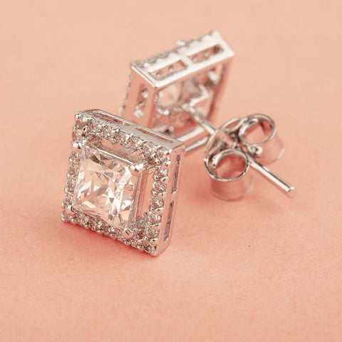 Elegant Fancy Shaped Swarovski Zirconia Stud Earrings 92.5 Silver