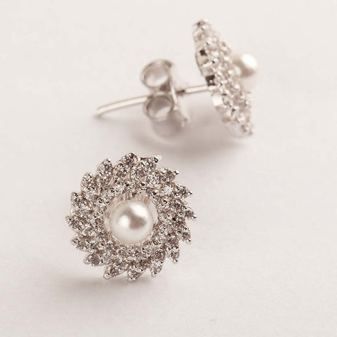 Mix-shaped Swarovski Zirconia Pearl Stud Earrings 92.5 Silver