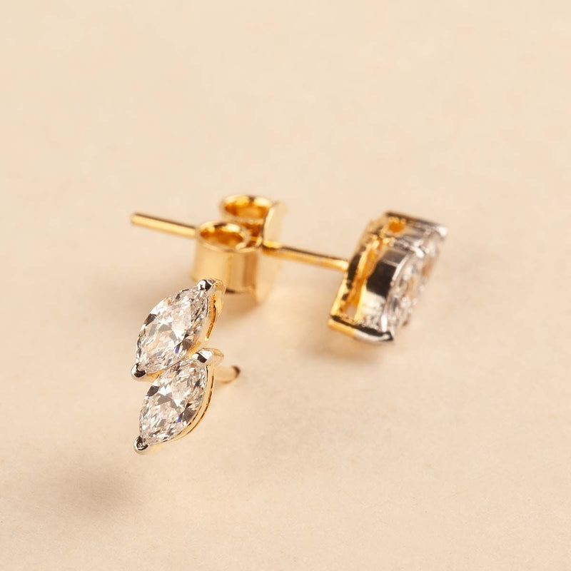 Marquise Shape Swarovski Zirconia Stud Earrings 92.5 Silver