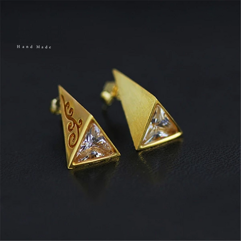 925 Sterling Silver Natural Creative Handmade Fine Jewelry Vintage Pyramid Stud Earrings for Women Brincos