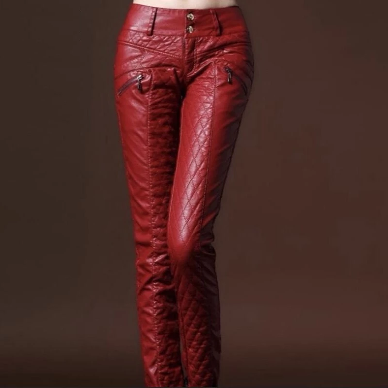 New Chic Winter Womens Faux Leather Slim Fit Pants Warm Trousers Leggings Skinny Women Pants Female Fashion Trousers