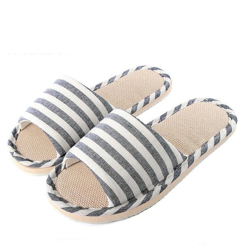 Summer Shoes Men Beach Sandals Flip Flops Striped Linen Male Casual Sneakers For Home Indoor Slippers Erkek Terlik