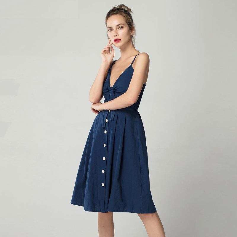 Sexy Bow Backless Polka Dots Print Beach Summer Dress Women Cotton Deep V Neck Buttons Off Shoulder Midi Dresses