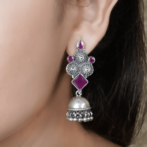 Unbiased Studded Jhumki 92.5 Silve