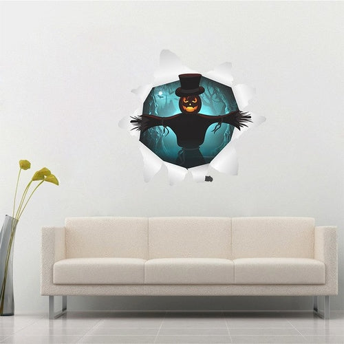Halloween Witch Pumpkin Wall Sticker Creative