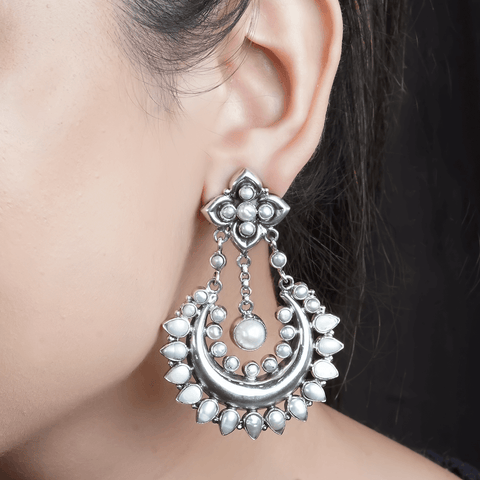 Pearl Studded Dangling Earrings 92.5 Silver