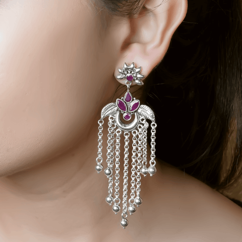 Studded Dangler Earrings 92.5 Silver