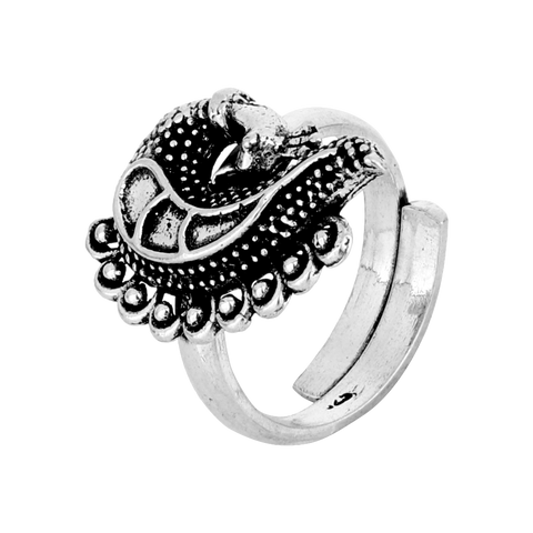 Tribal Silver Peacock Ring