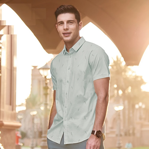 Men's Summer Beach Hawaii Printed Casual Shirt New Solid Color Fit Slim Formal Short Sleeve Dress Shirt