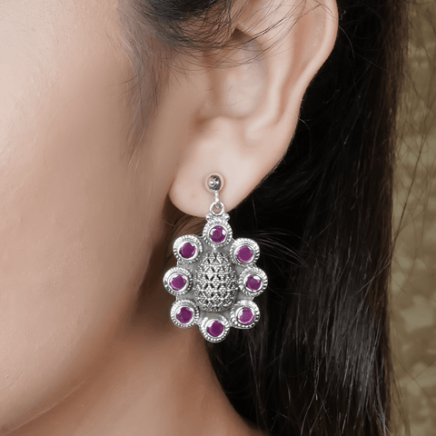 Purple Silver Earrings 92.5 Silver