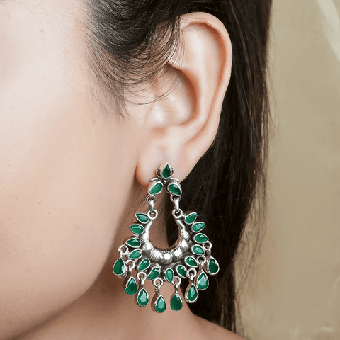 Green Tribal Silver Earrings 92.5 Silver