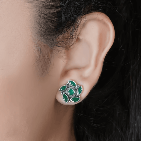 Green Swirl Stud Earrings 92.5 Silver