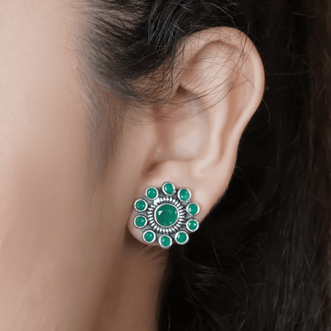 Flair Green Stud Earrings 92.5 Silver