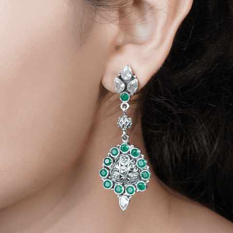Green Floral Earrings 92.5 Silver