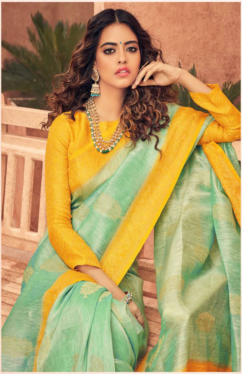 Linen Silk Hand Woven Saree for Women with Contrast Border and Unstitched Blouse.