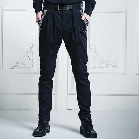 Free Shipping fashion casual male Men's New Spring Embroidered slim Haren harem solid simple saggy pants