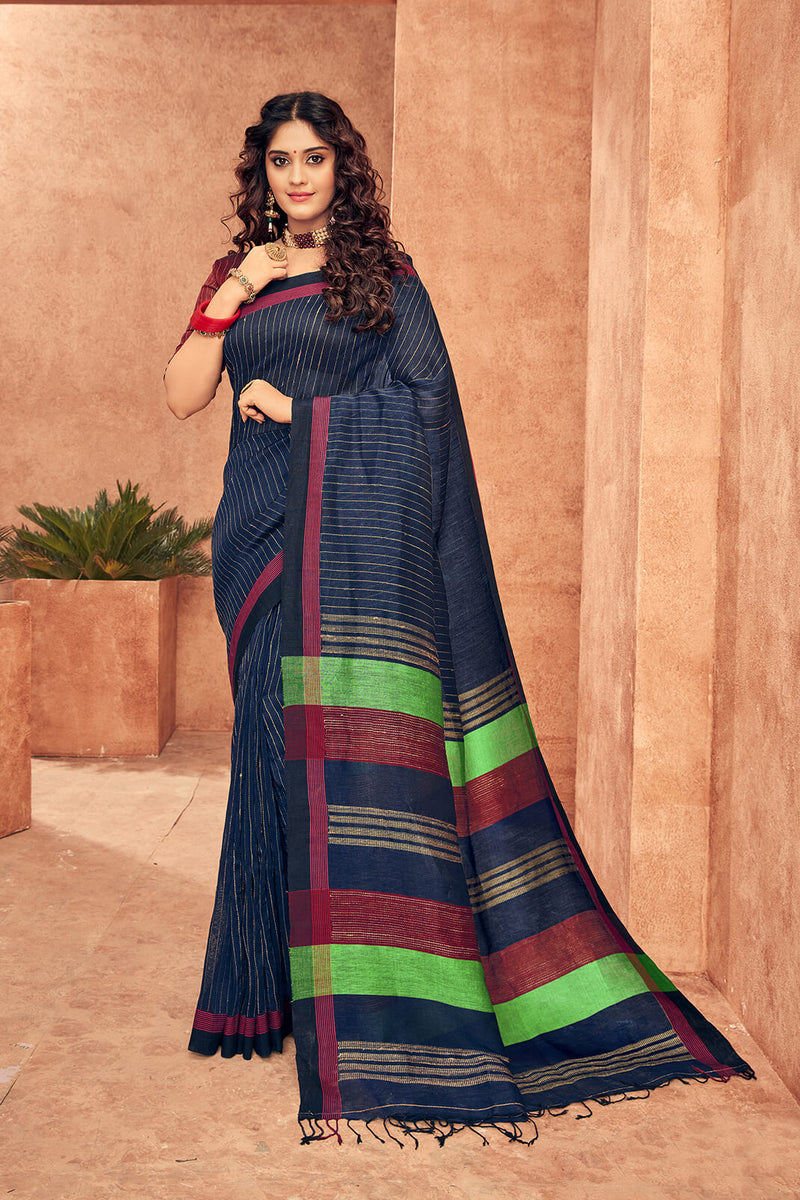 Designer Linen Saree with Golden Zari Stripes with Knotted Tassel Pallu.
