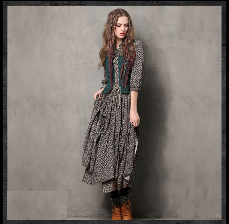 Autumn Tunic Vestidos Vintage Mandarin Collar Cotton Dress Half Sleeve A-Line Three Quarter Sleeve Maxi Women Embroidery Dresses
